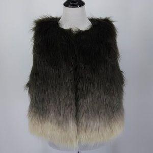 NEW Fever Large Vest Faux Fur Brown Ivory Hombre